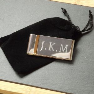 Engraved Money Clip Silver Plated Personalised Gift